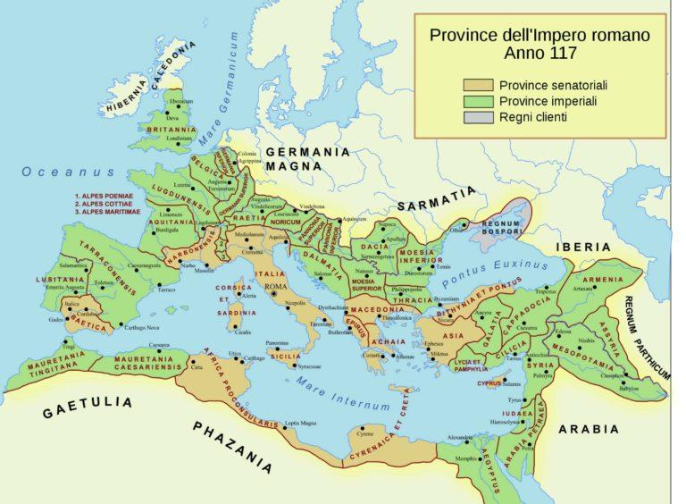 Карта Римского государства в 117 г.