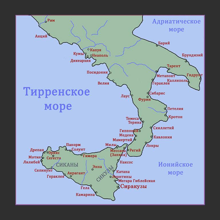 Карта Великой Эллады (Греции)