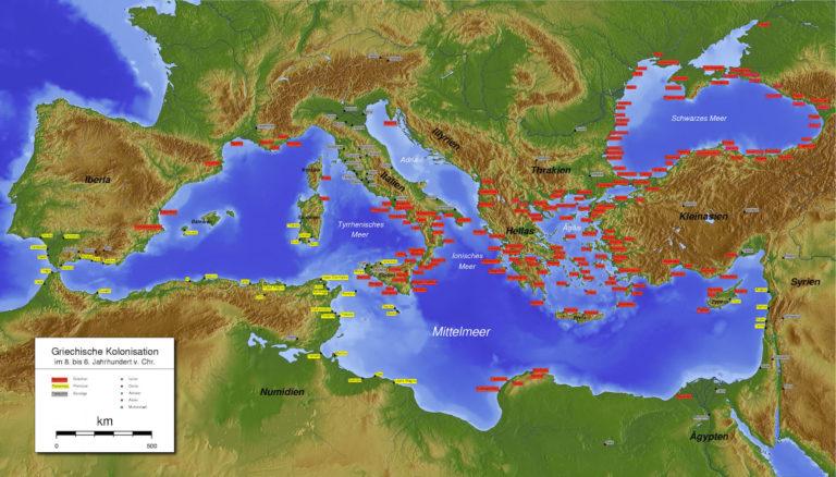 Карта финикийских (отмечены желтым) и греческих (красным) колоний