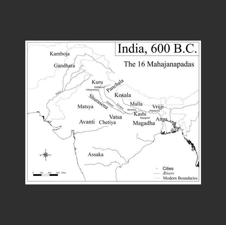 Карта государственных образований Северной и Центральной Индии времен Будды