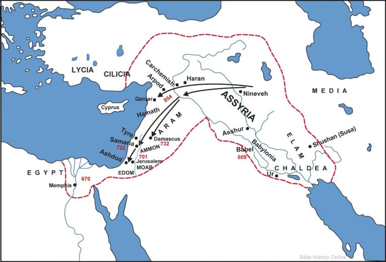 Карта завоеваний Ассирии