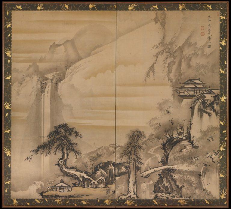 Китайский мудрец, созерцающий водопад. Япония, XVIII в.