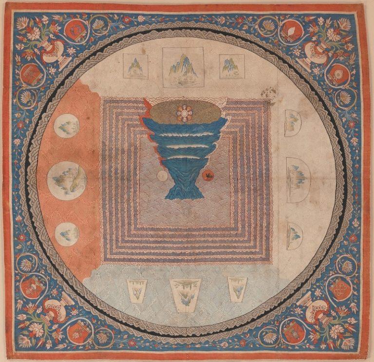 Космологическая мандала с изображением горы Меру. Китай, XIV в.