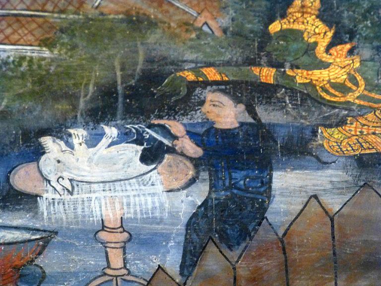 Кунда готовит свинину для последней трапезы Будды