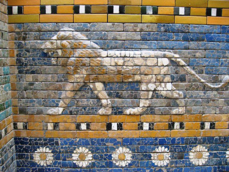 Лев. Барельеф, ворота Иштар. 575 г. до н.э.