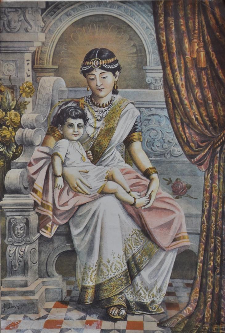 Махападжапати Готами, будущая первая бхикшуни, с маленьким Буддой на руках. 1-я пол. XIX в.