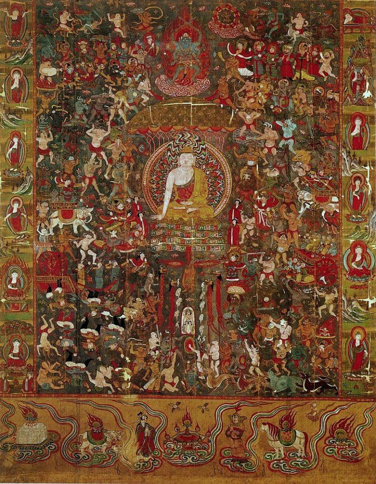 Мара, его дочери и армия демонов искушают Будду. X в.