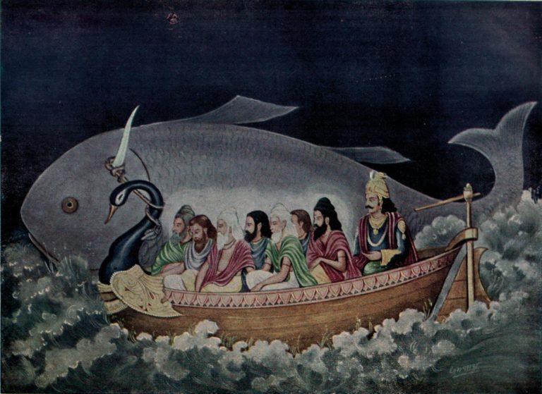 Матсья (рыба) спасает саптариши и Ману от Великого потопа