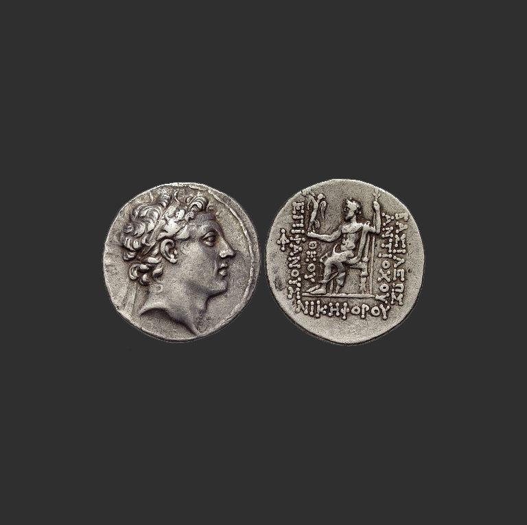 Монета Антиоха IV Епифана (ок. 215 – 164 до н.э.) с надписью «Теос Эпифанес»