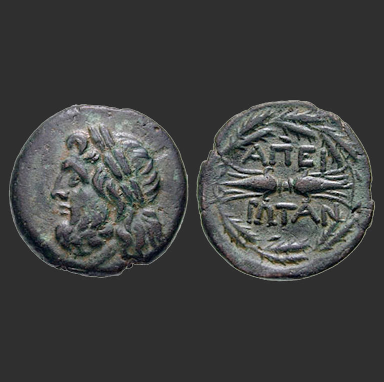 Монета Эпирской лиги с изображением Зевса и молнии со словом ΑΠΕΙΡΩΤΑΝ («Эпироты»)