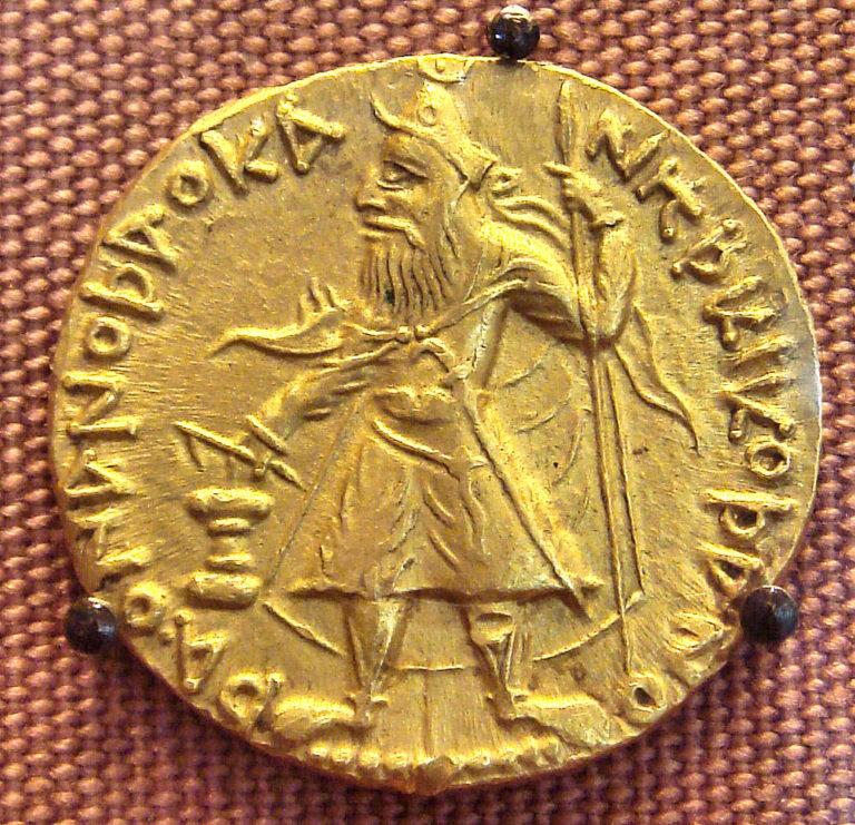 Монета с портретом Канишки I (начало II в. н.э.)