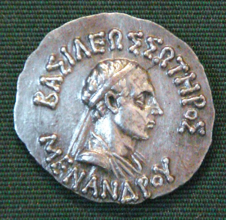 Монета с портретом Менандра I (правил в 165—130 гг. до н. э.)