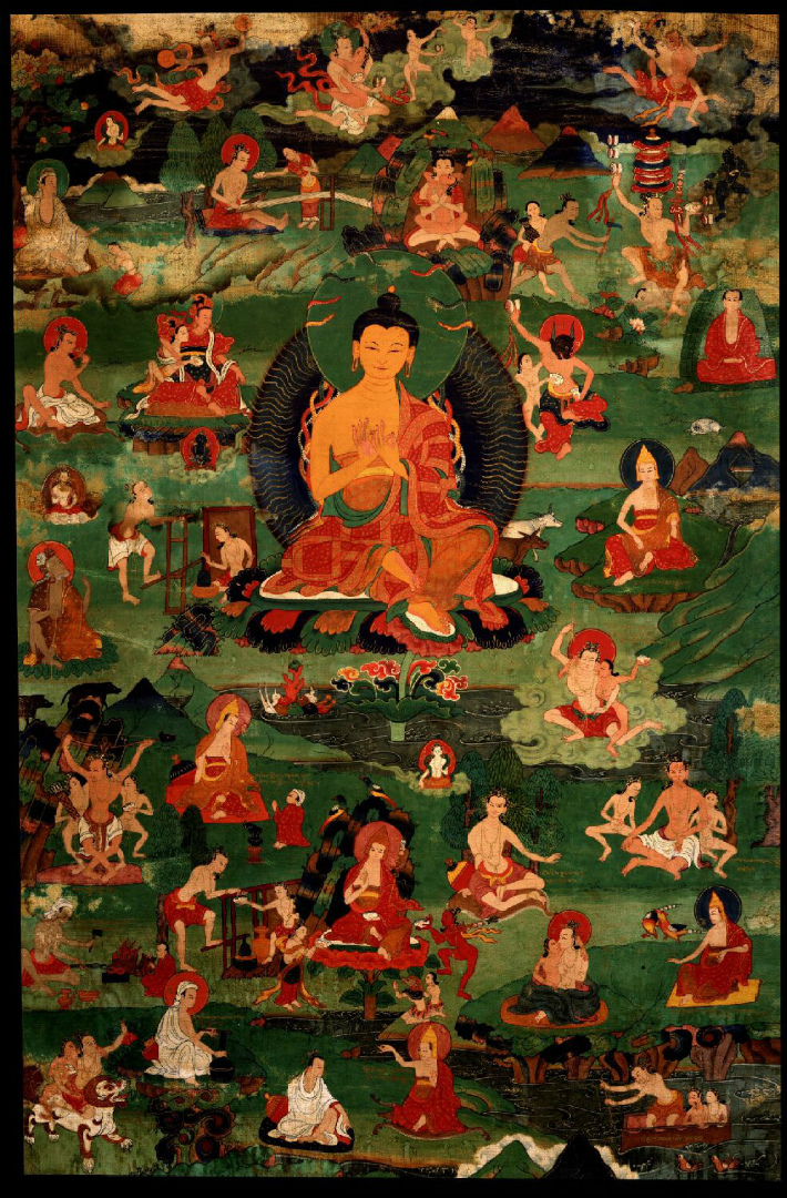 Нагарджуна в окружении махасиддх. Тибет, XVIII в.