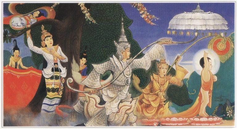 Новорожденный Будда делает семь шагов. Под его ступнями распускаются лотосы