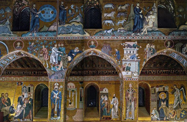 Общие святые Востока и Запада (нижний ряд). Латинская капелла – Cappella Palatina. 1140-1170 гг.