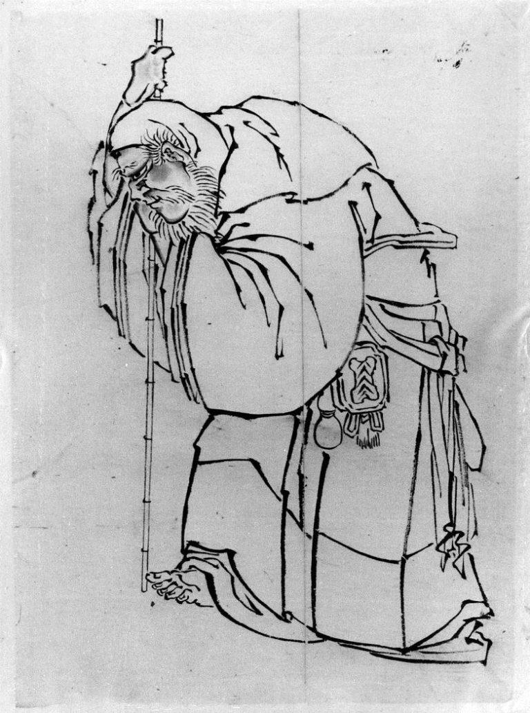 Отшельник с посохом. Япония, XVII–XIX вв.