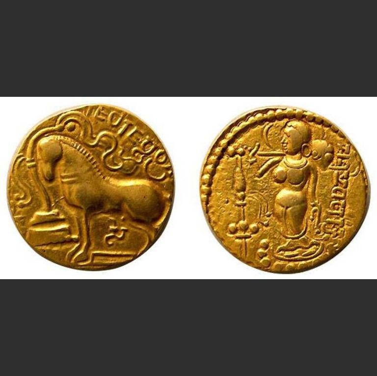 Памятная монета, выпущенная Самудрагуптой после проведения им обряда ашвамедха