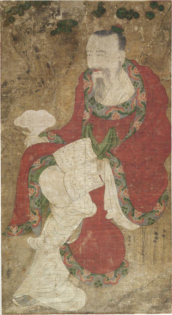 Портрет буддийского мудреца, сидящего под сосной и читающего текст. Корея, XVII–XVIII вв.