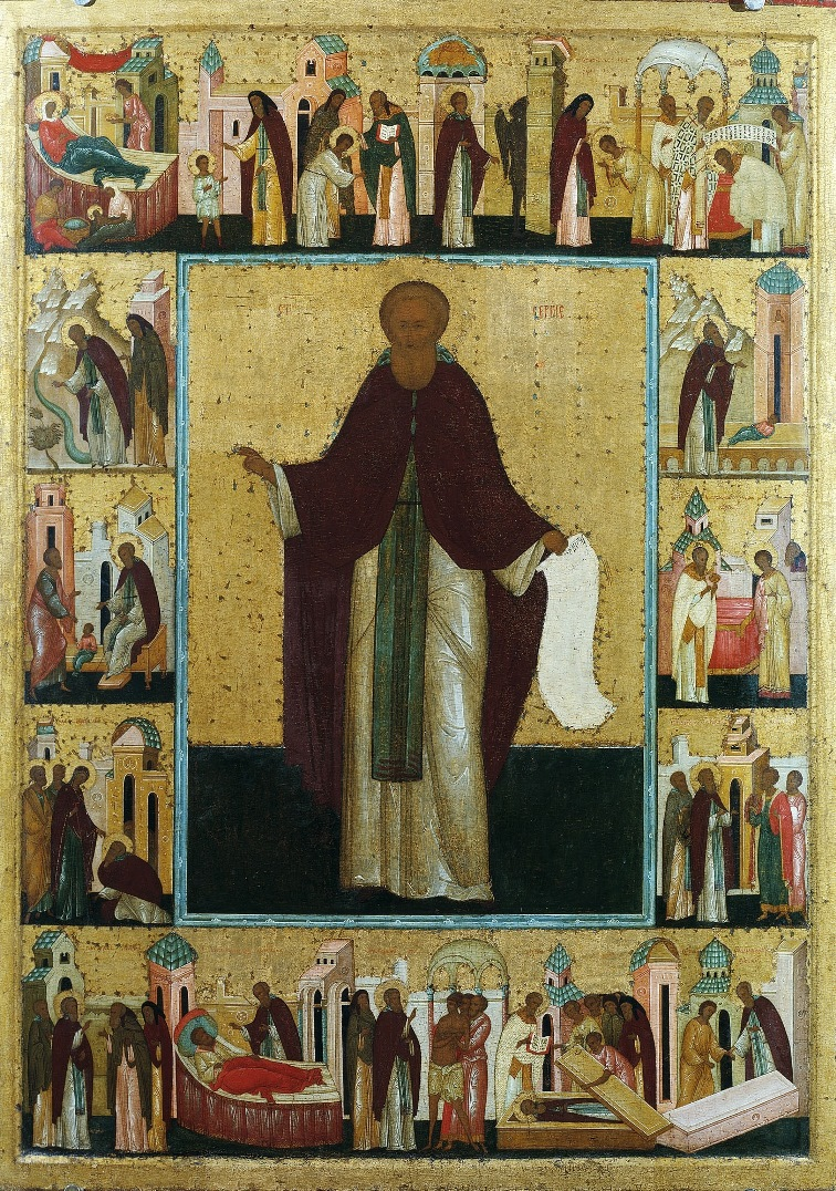 Преп. Сергий Радонежский с житием. Кон. XV - нач. XVI вв.