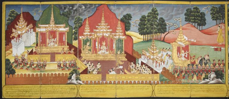 Принц Сиддхарта во дворце с супругой в окружении музыкантов. XIX в.