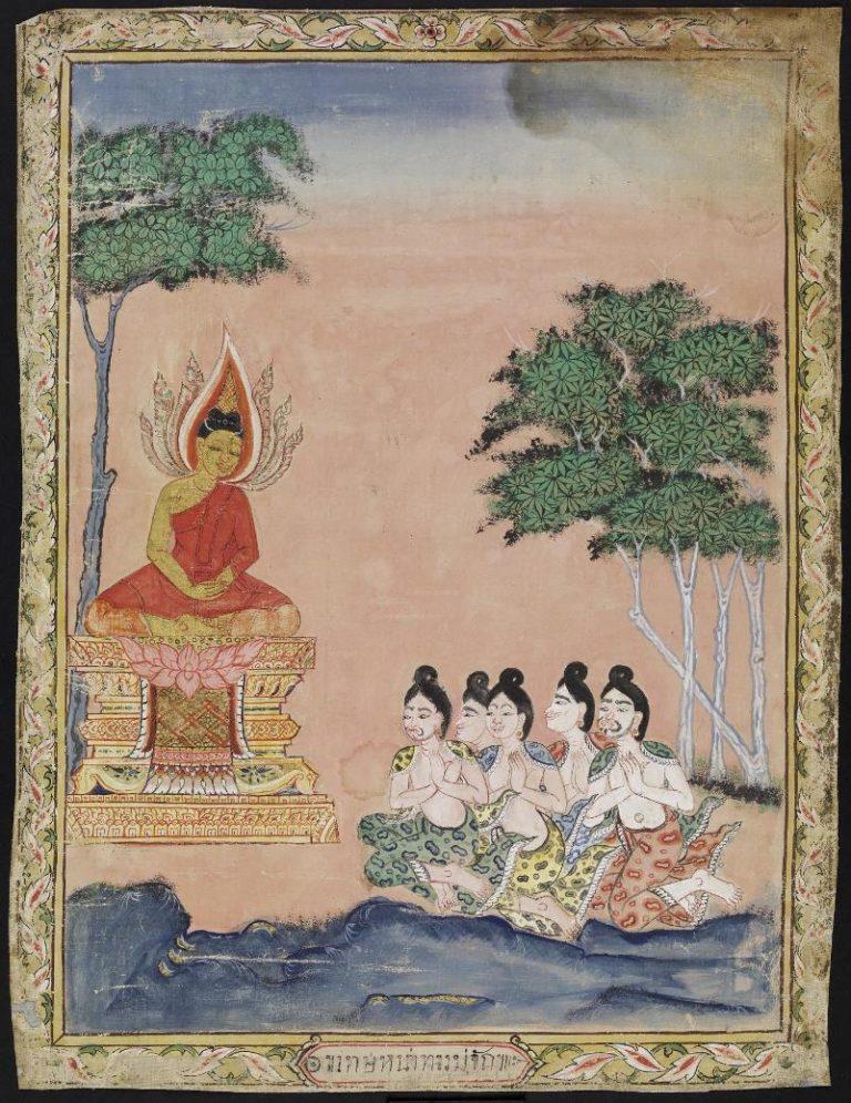 Проповедь Будды пяти отшельникам. Тайланд, XIX в.