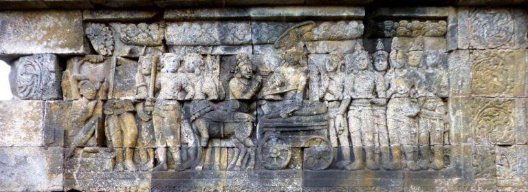 Процессия Будды встречает старика (слева с посохом). VII—IX вв.