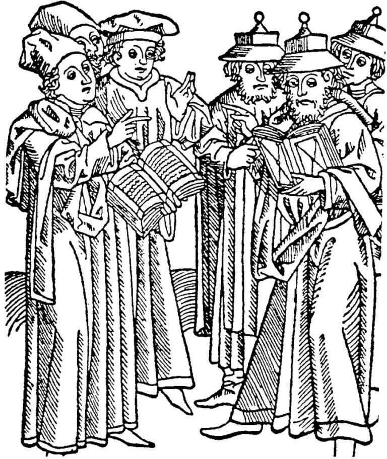 Публичный диспут между христианскими и иудейскими учеными. Гравюра конца XV в.