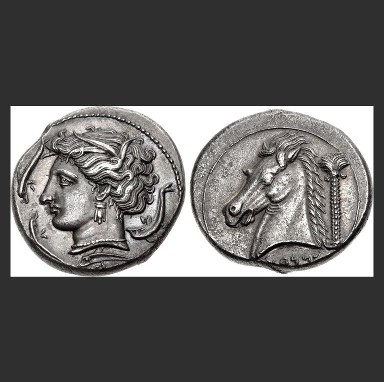 Пунийская тетрадрахма с нимфой Аретусой, найденная на Сицилии. 320-300 гг. до н.э.