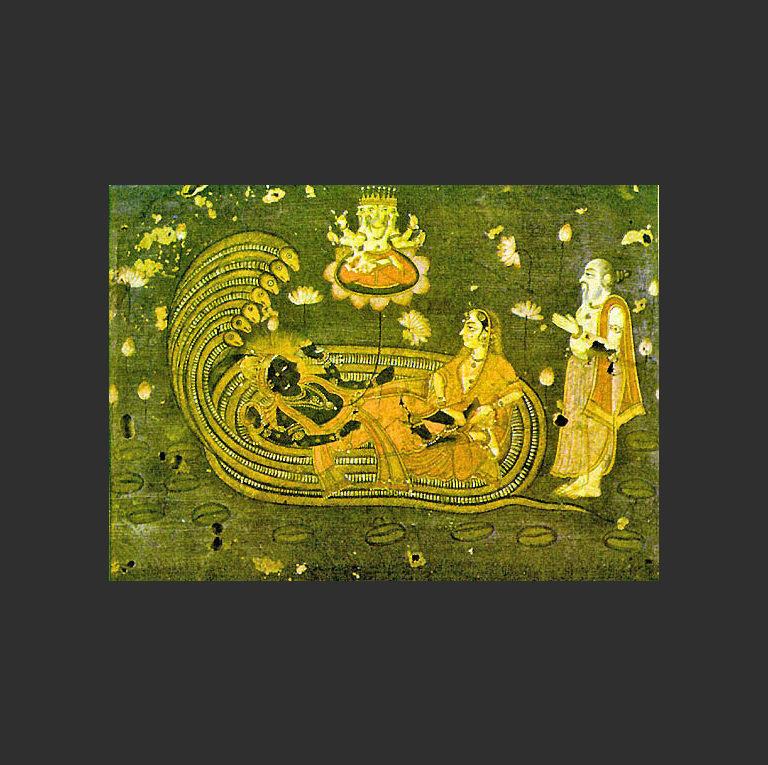 Рождение Брахмы из цветка лотоса, выросшего из пупа Вишну. XVIII в.