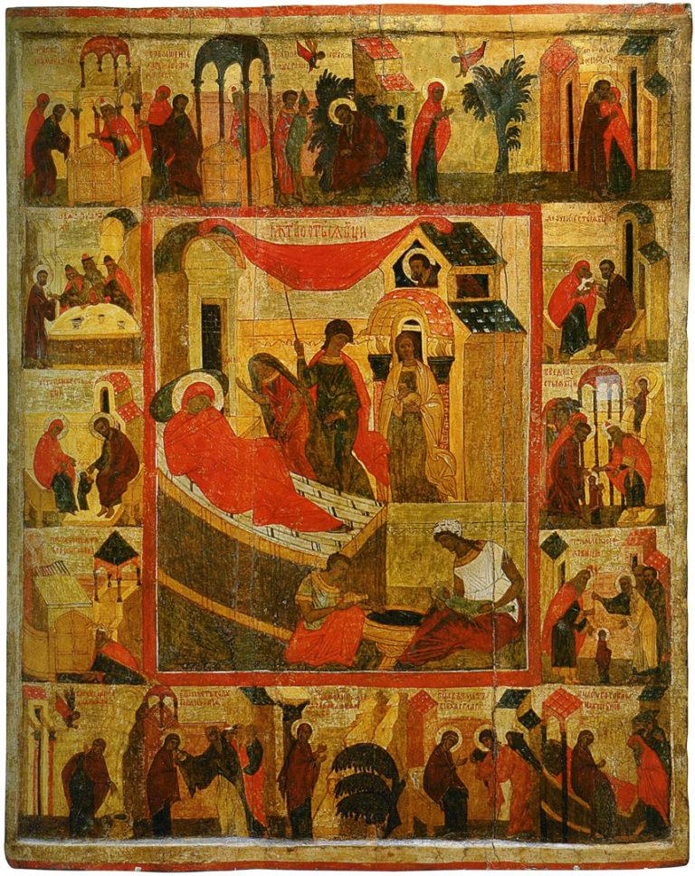 Рождество Богоматери с клеймами. Середина XVI в.