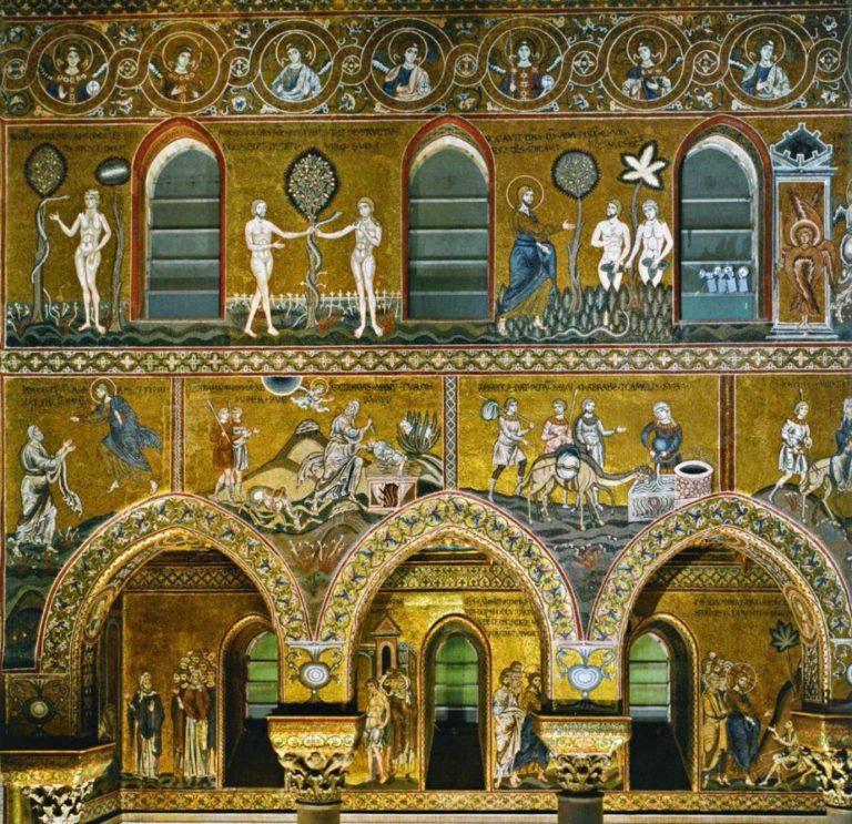 Шестоднев (верхний ряд), сцены из Ветхого (средний ряд) и Нового Завета (нижний ряд). 1183-1189 гг.