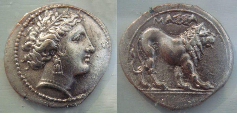 Серебрянная греческая драхма из Массалии. 375-200 гг. до н.э.