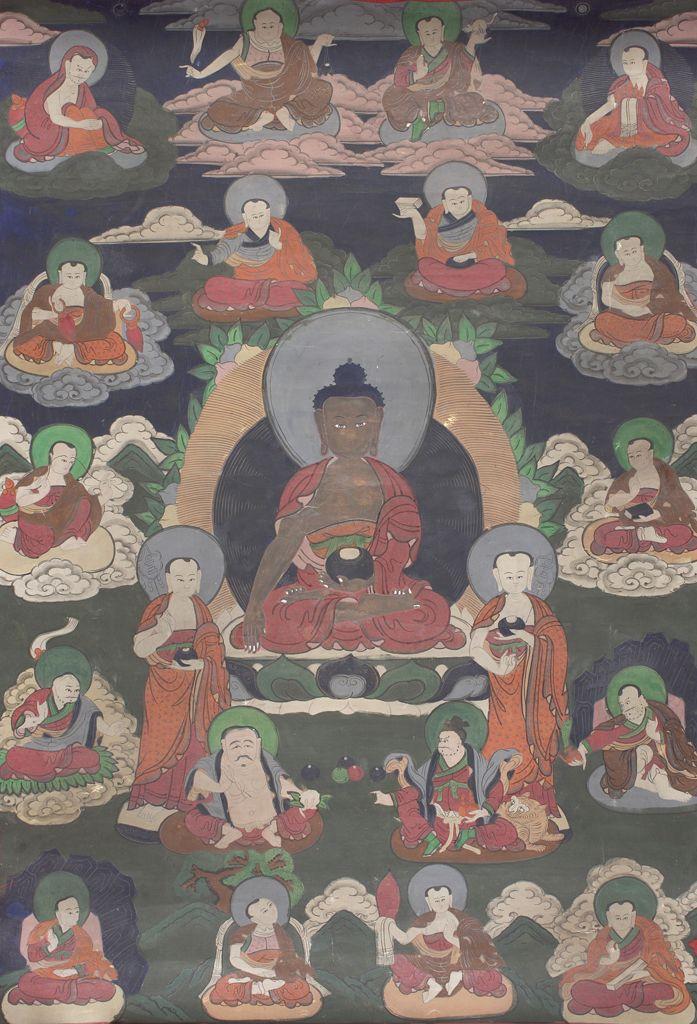 Сидящий Будда и восемнадцать архатов. Тибет, XIX в.