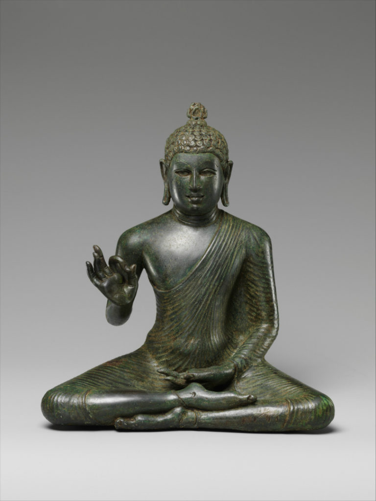 Сидящий Будда, излагающий дхарму. VIII в.
