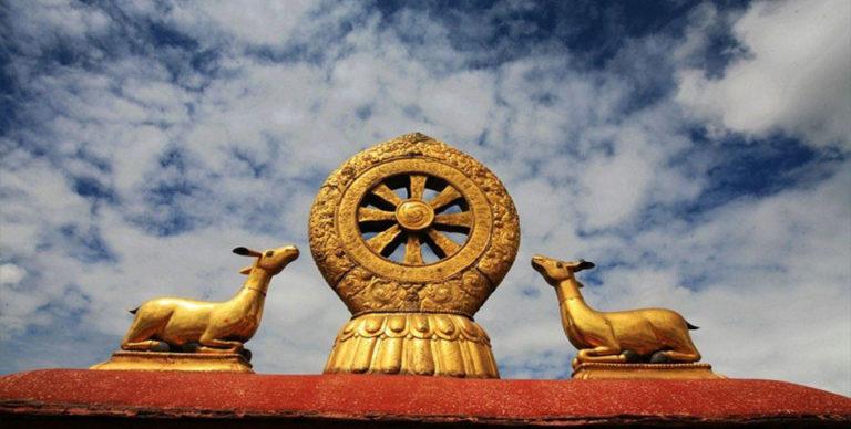Символ буддизма – колесо Дхармы и слушающие лани
