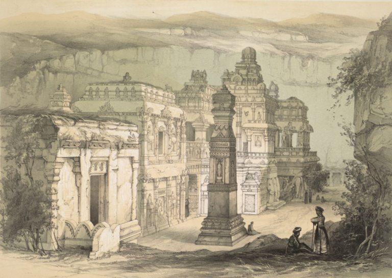 Скальный храм Кайлаш в Эллоре. 1839