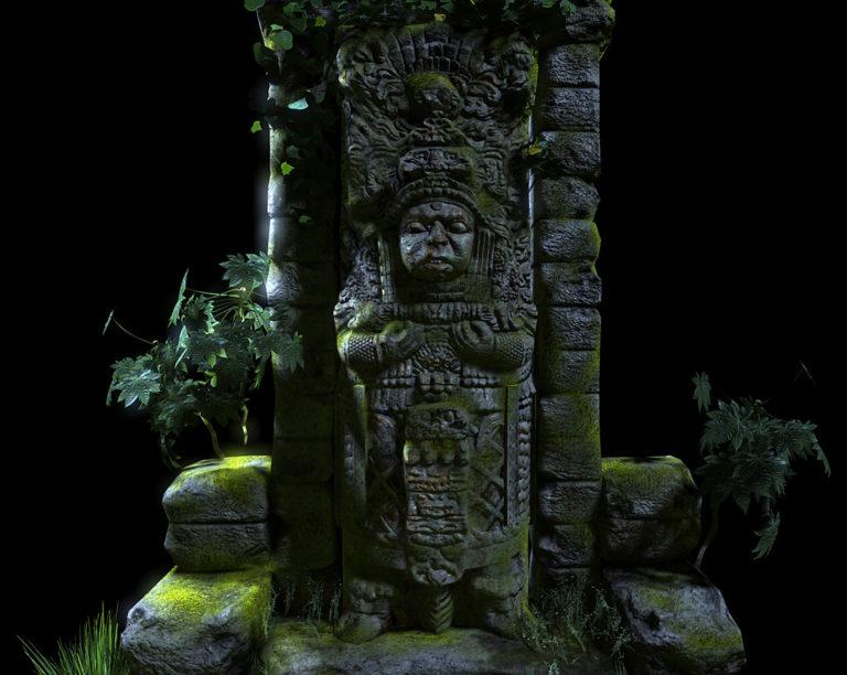 Статуя майя в джунглях