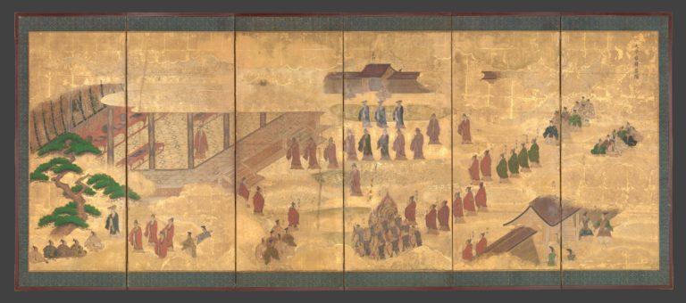 Сцена из жизни в университете с изображением древних мудрецов. Япония, XVII в.