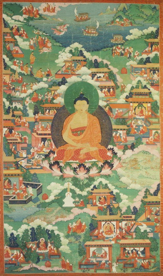 Сцены из жизни Будды. Тибет, XVIII в.