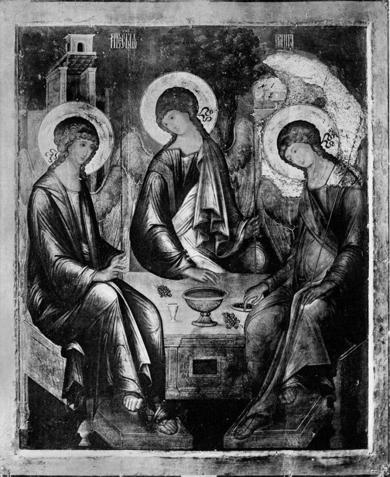 Св. Троица работы Андрея Рублева в 1904 г. перед реставрацией