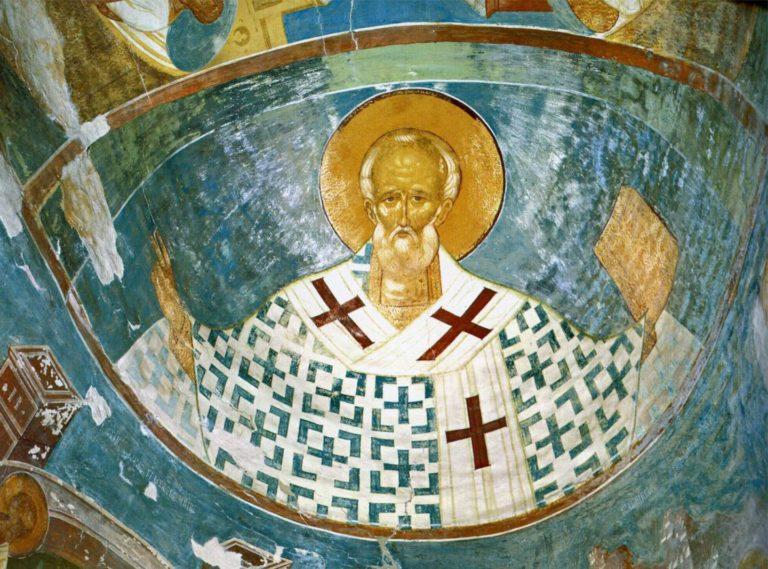 Свт. Николай. Фреска алтарной апсиды. 1502