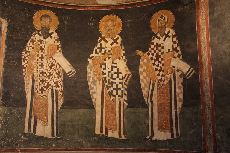 Святые отцы Василий Великий, Григорий Богослов, Кирилл Александрийский. XIV в.