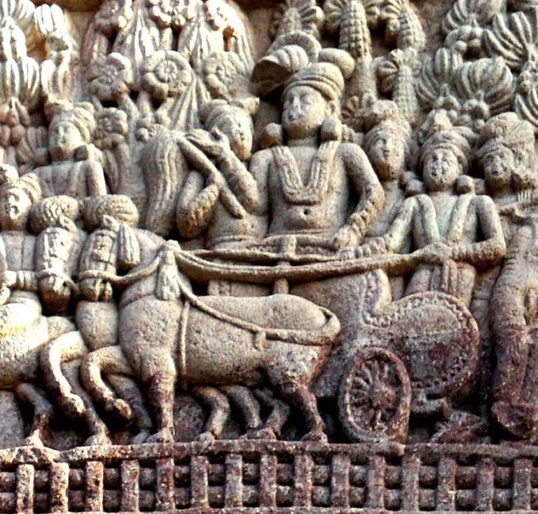 Царь Ашока (304–232 гг. до н.э.) на колеснице