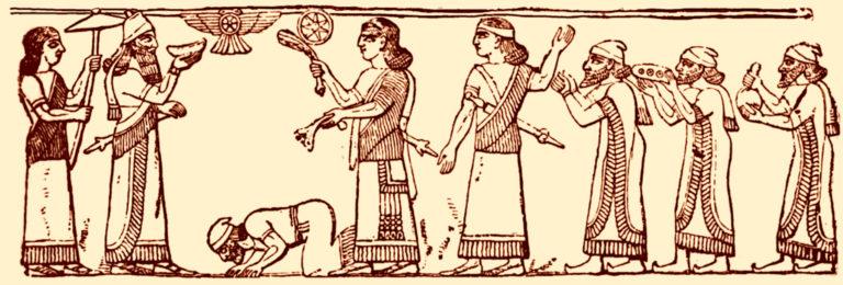 Царь Северо-Израильского царства стоит на коленях перед Салмансаром III