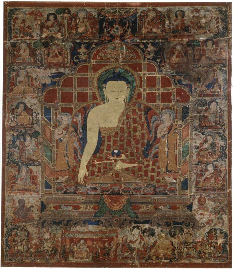 Танка с изображением Будды в окружении учеников. Тибет, XV в.