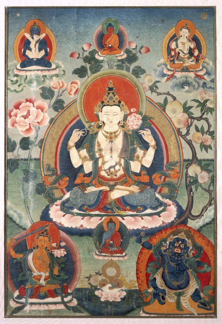 Танка с изображением бодхисаттвы Авалокитешвары. Тибет, XX в.