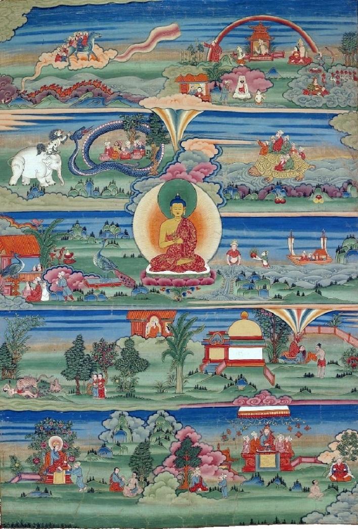 Тханка, иллюстрирующая джатаку о слоне. XVIII-XIX вв.