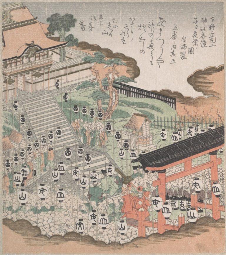 Толпа людей на фестивале танцев на фоне святыни Футаара. Япония, XIX в.