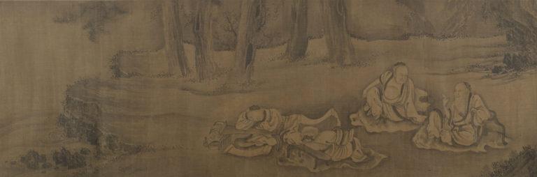 Ученики и монахи под деревьями. Китай