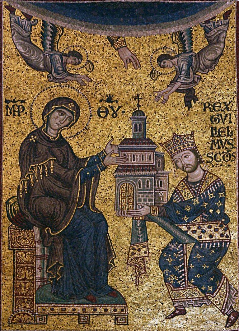 Вильгельм II преподносит собор в Монреале в дар Богородице. 1183-1189 гг.